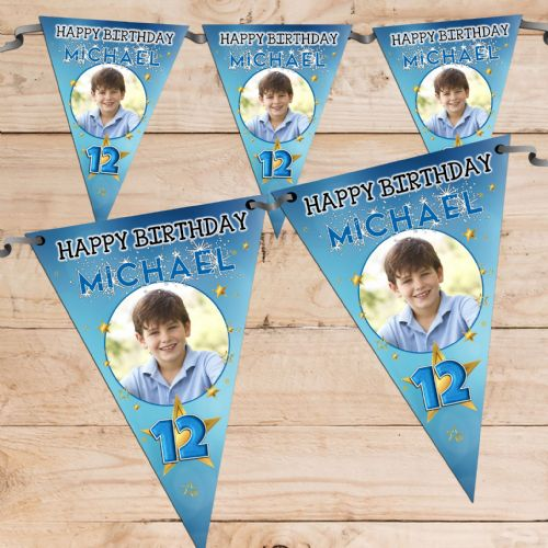 Personalised Boys Star Sparkle Happy Birthday Flag PHOTO Bunting Banner - N79 ANY AGE